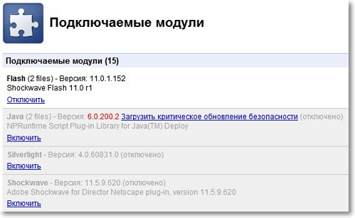 Отключите подключаемые модули в Google Chrome