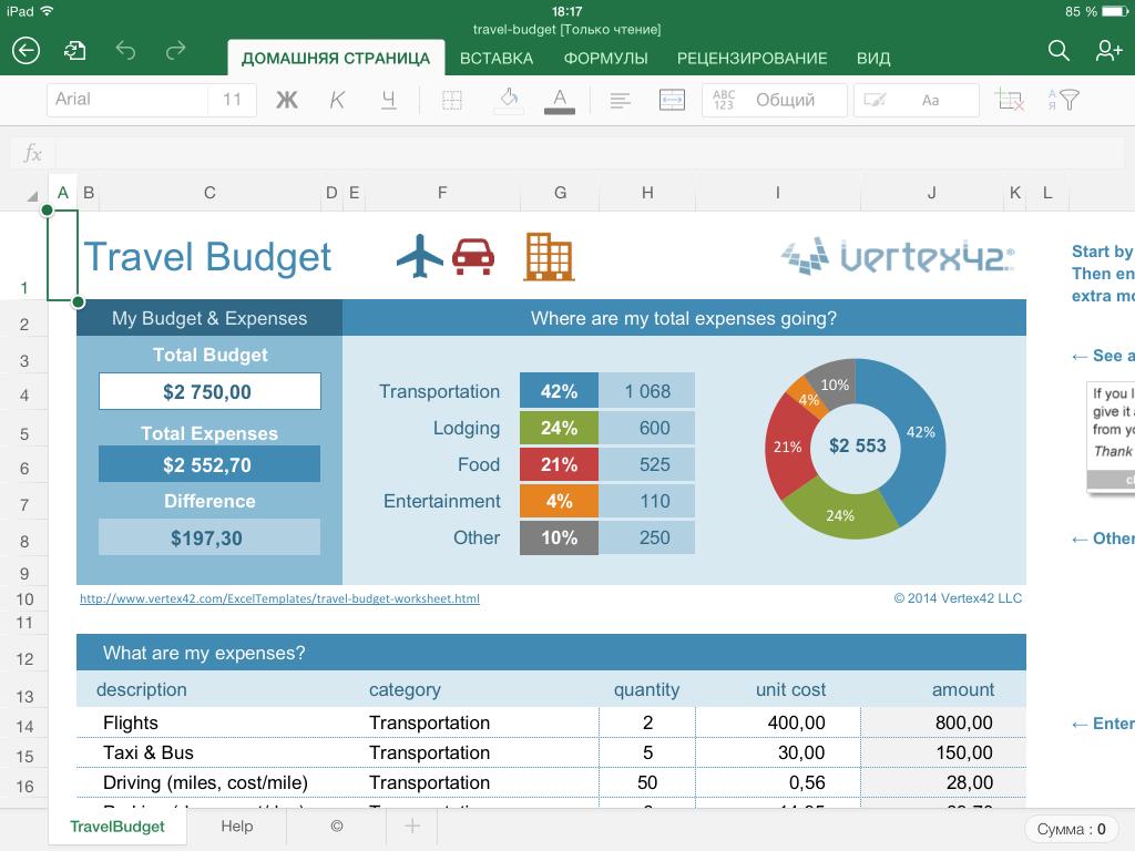 Как рассчитать расходы на путешествие в Excel