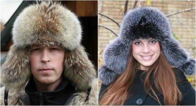 Слева шапка из койота, справа — из блюфроста