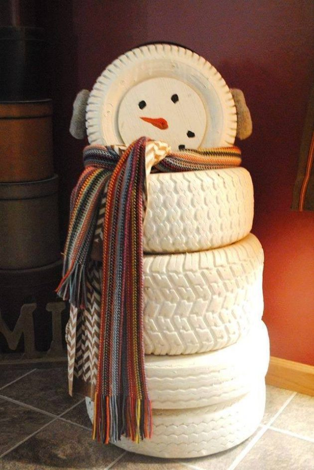 Снеговик из покрышек