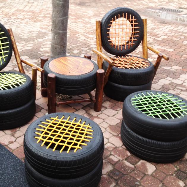 Кресла и табуреты из покрышек