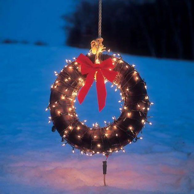 Рождественский венок из покрышки