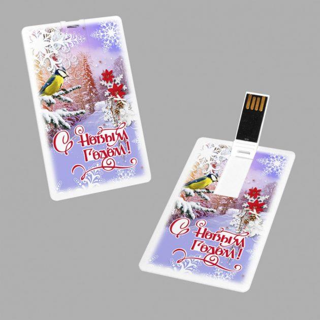 Подарки на Новый год: открытки с флешками