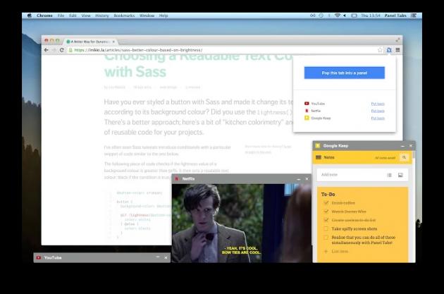 Расширения Chrome: вкладки в мини-окнах