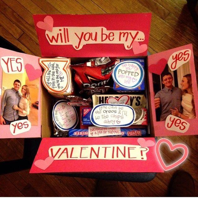 Подарки на День святого Валентина: коробка с со сладостями
