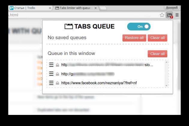 Tabs Limiter screen 1