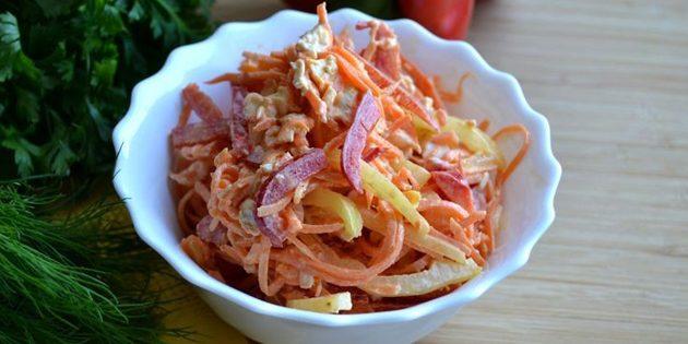 Салат с болгарским перцем курицей и корейской морковью рецепт с