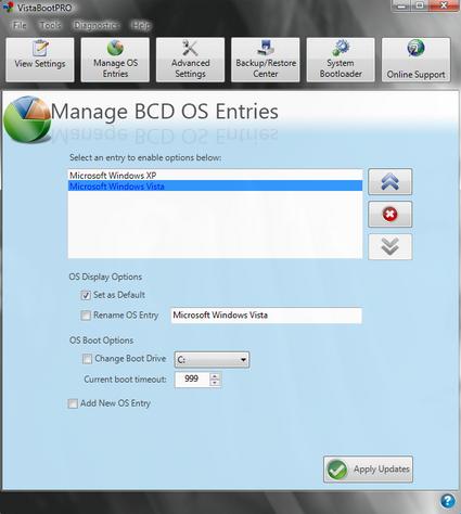 VistaBootPRO - графический редактор boot-меню Vista
