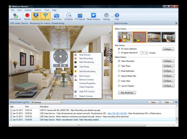 программа для видеонаблюдения: WebCam Monitor
