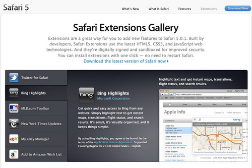 Safari Extensions Gallery
