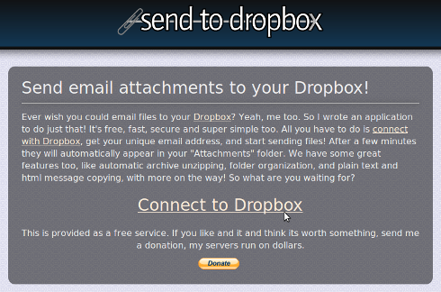 sendtodropbox - connect