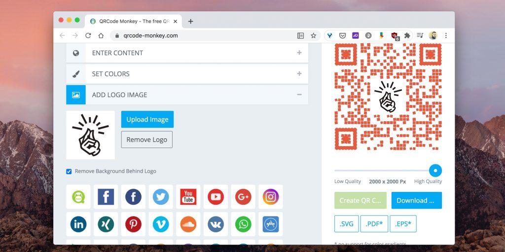 Как сгенерировать QR-код онлайн: в меню Add logo image загрузите свою картинку или выберите один логотипов соцсетей