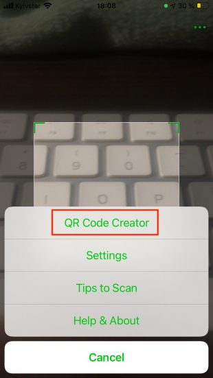 Как сгенерировать QR-код на смартфоне: выберите пункт QR Code Creator