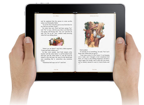 reading a book on iPad
