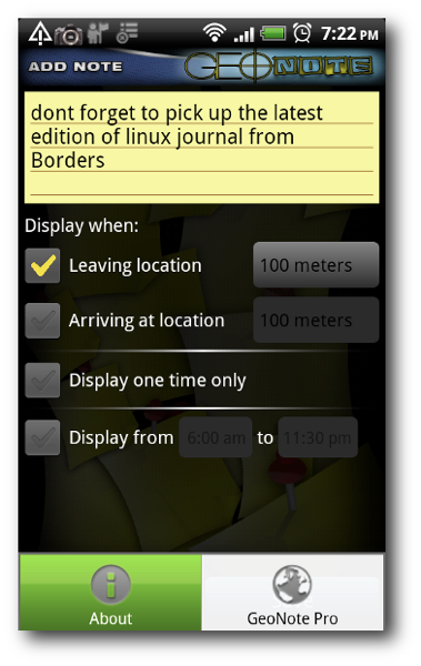 Notes Screen