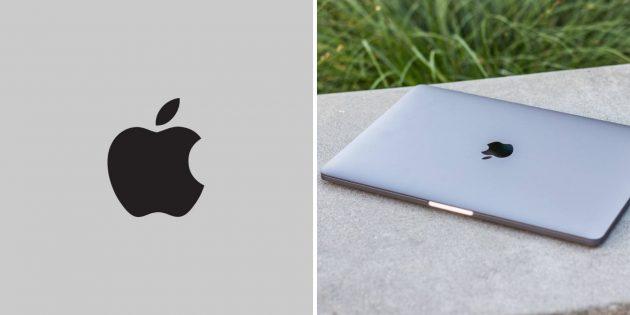 Монохромное лого Apple