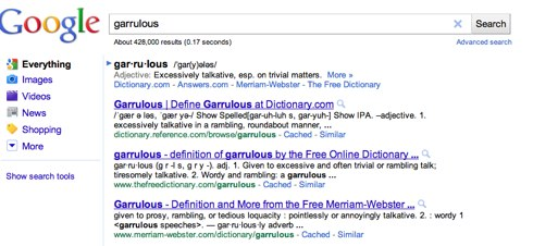 garrulous - Google Search