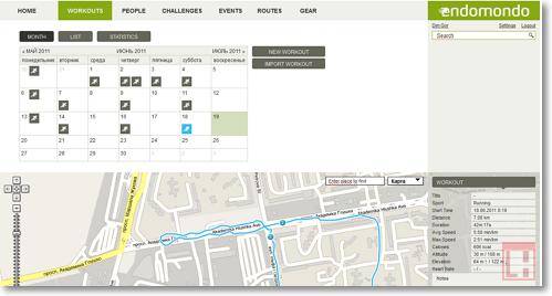 Сайты для бега: Endomondo