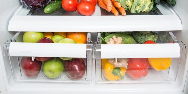 Ящики для хранения фруктов и овощей в холодильнике