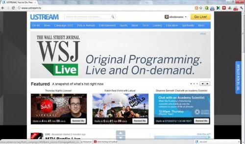 Ustream - сервис видеовещания с поддержкой мобильных устройств