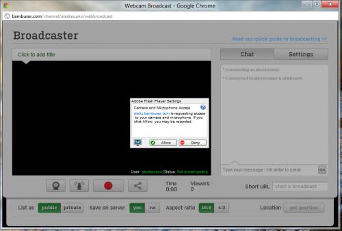 Bambuser - сервис трансляции видео с мобильных устройств или вебкамеры