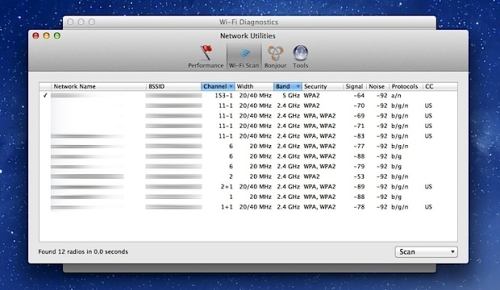 Новые возможности Wi-Fi Diagnostics Tool в Mountain Lion