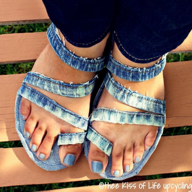 Босоножки из джинсовой ткани своими руками