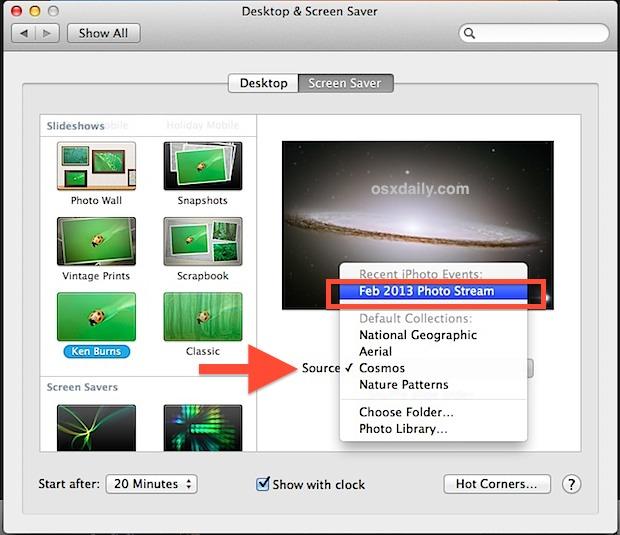 Как использовать фотопоток iPhone в качестве заставки на OS X