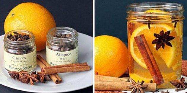 натуральные ароматизаторы для дома: Ароматизатор из апельсина, корицы, гвоздики и аниса