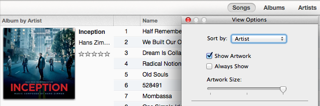 itunes 11.0.3 view options