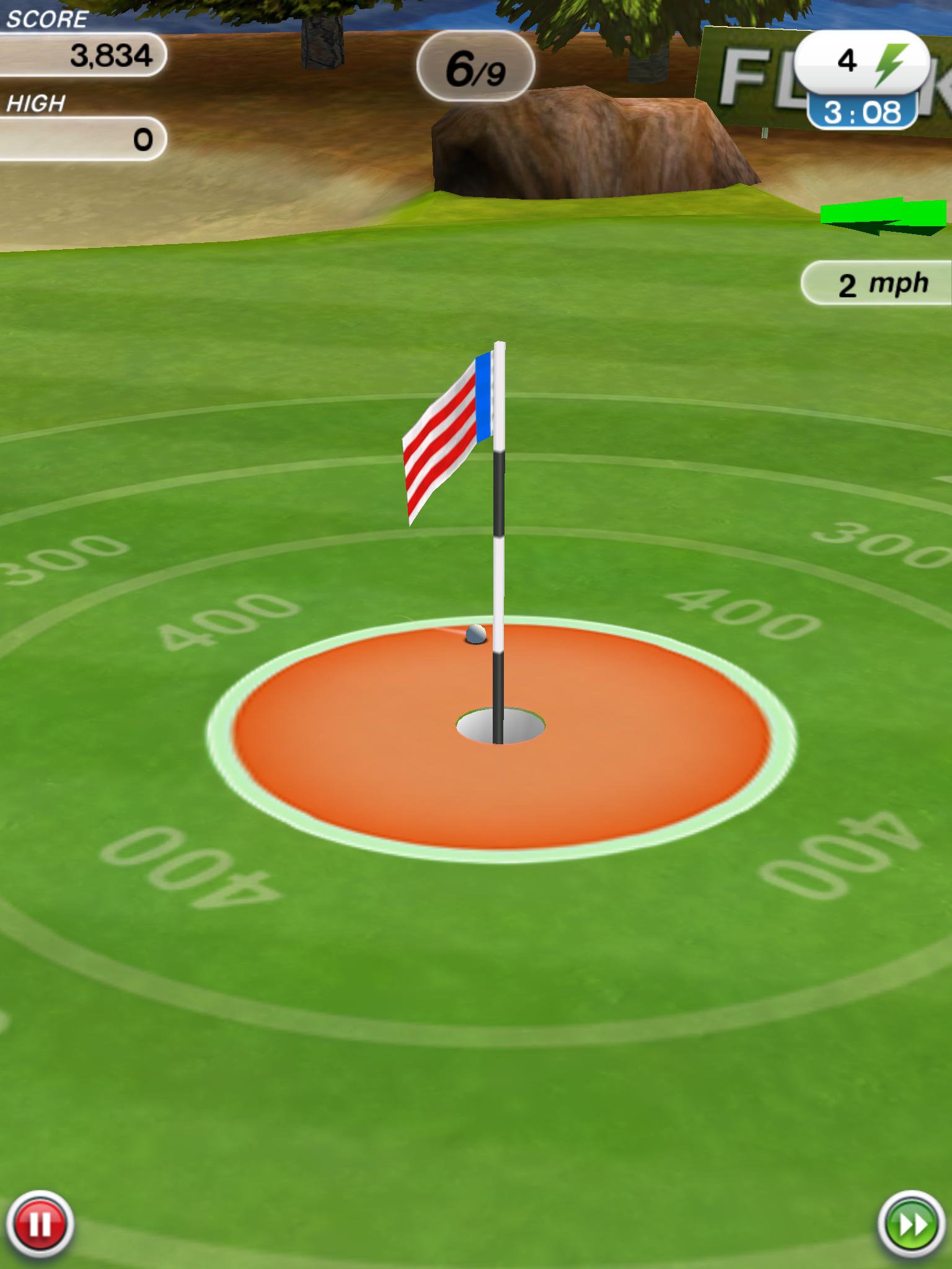 Flick Golf: точный бросок - мячик в лунке