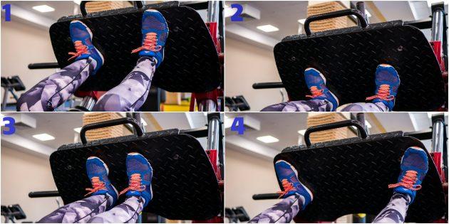 тренировка в тренажерном зале: Постановка ног на платформе