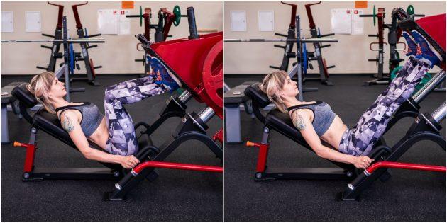 тренировка в тренажерном зале: Жим ногами в тренажёре