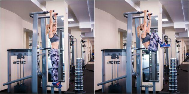 Программа тренировок в тренажёрном зале: Подъём коленей к груди