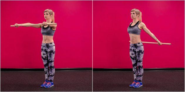 Как заниматься в тренажёрном зале: Растяжка плеч с палкой
