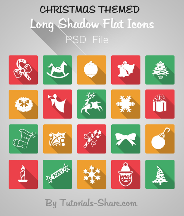 Flat Long Shadow Free Christmas Icon Set (PSD) by Tutorials Share