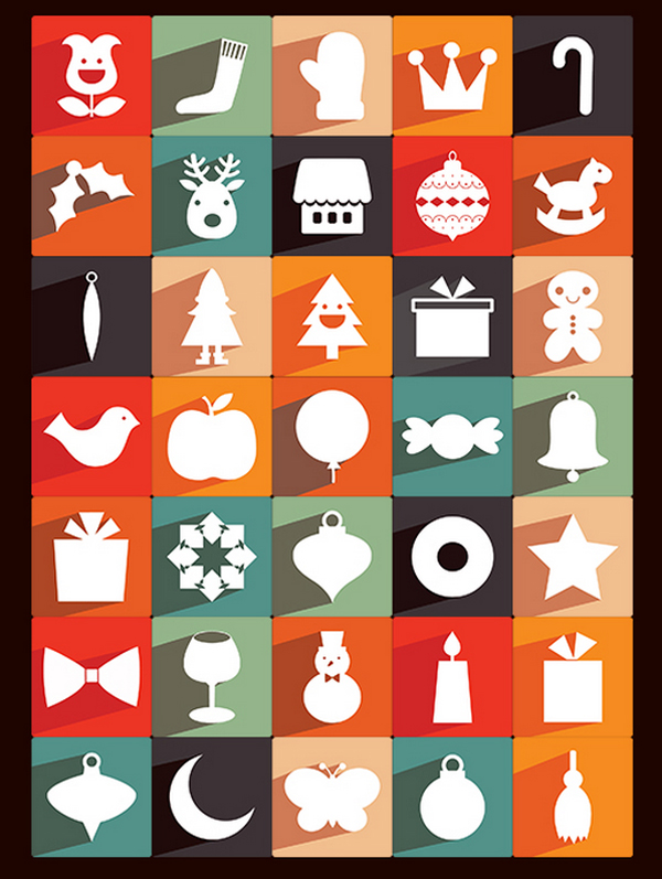 35 New Free Long Shadow Christmas Icons by Ferman Aziz