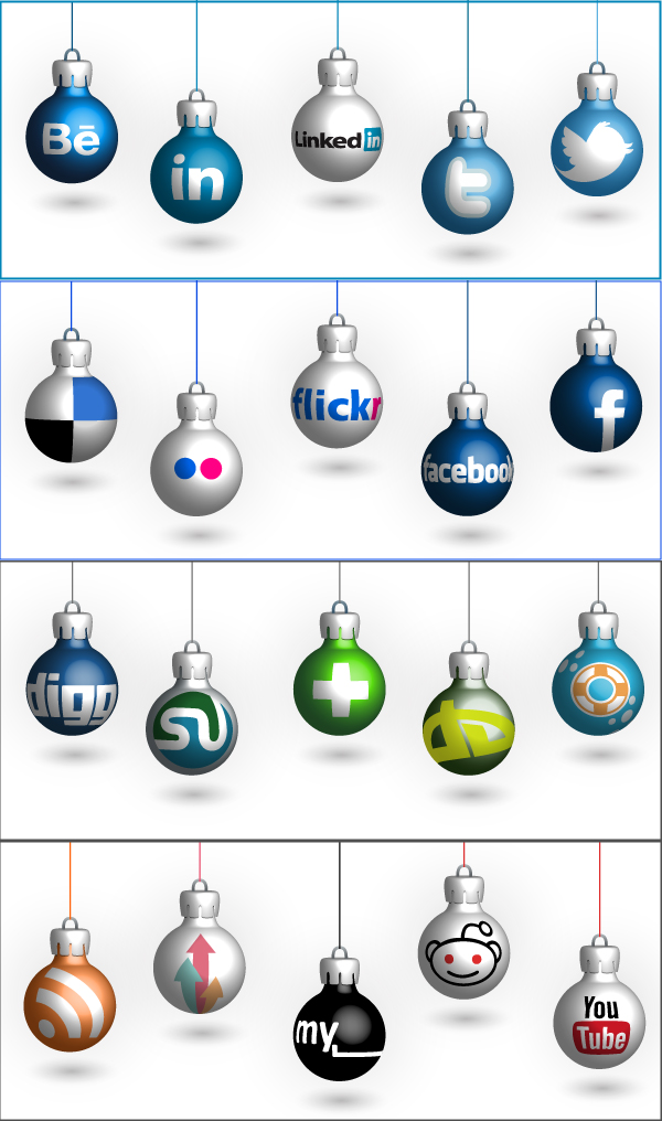 Free Cristmas Social Icons in Vector Format by PeHaa