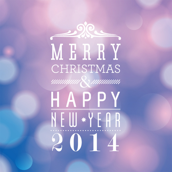 Merry Christmas and Happy New Year 2014 Font Design Vector by jacknet