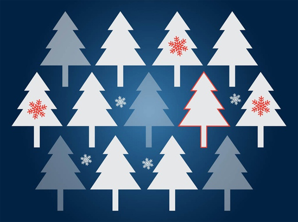 Christmas Trees Vector Background