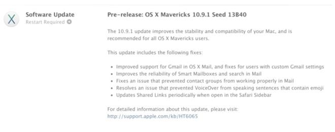 Apple выпустила OS X 10.9.1 beta для разработчиков