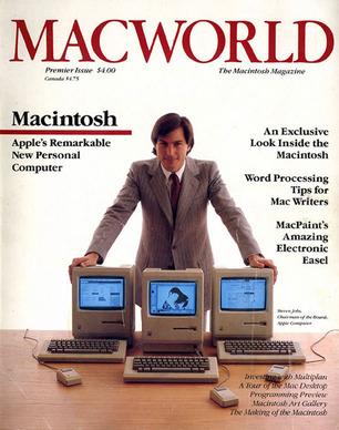 Стив Джобс и обложка первого номера Macworld