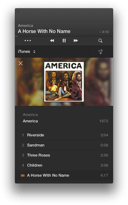 Воспроизведение альбома из фонотеки iTunes