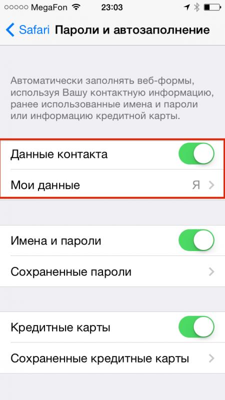 Как настроить функцию автозаполнения в iOS 7