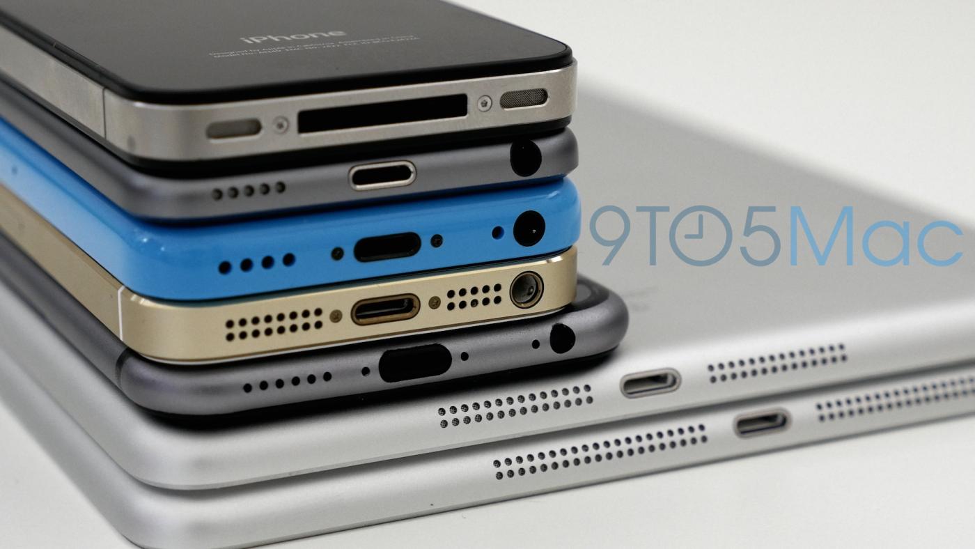 Детальное сравнение макета iPhone 6 с iPad Air, iPad mini, iPhone 5c, iPhone 5s, iPhone 4s и iPod touch