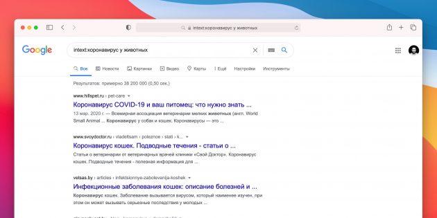 Поиск в Google: поиск слов в тексте
