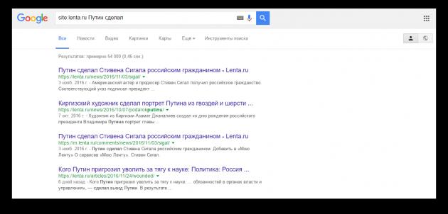 искать в Google: поиск по сайту