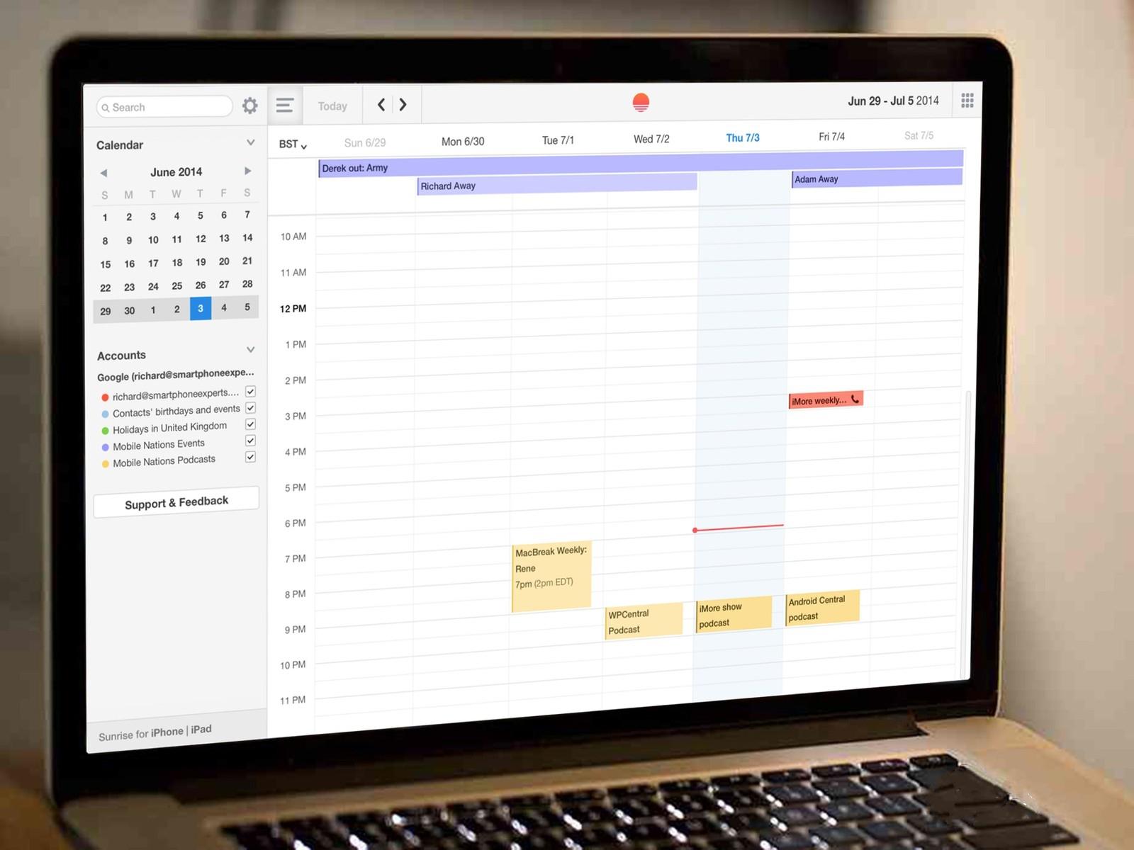 Sunrise Calendar пришел на OS X, получив поддержку Facebook, Evernote и других сервисов