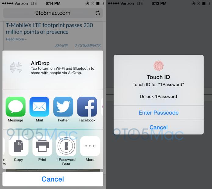 Разработчики 1Password показали, как приложения будут работать с Touch ID и Расширениями в iOS 8 (видео)