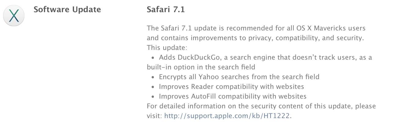 Вышел Safari 7.1 для OS X Mavericks 10.9.5